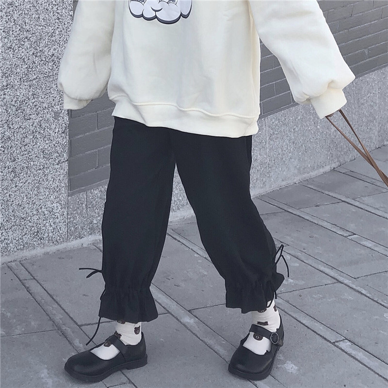 2020 New Japanese Lolita Style Spring Women Pants High Waist Black White Loose Female Trousers Cute Kawaii Sweet Preppy Capris