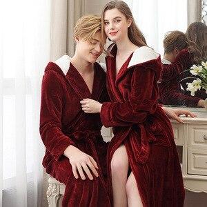 Image 2 - Paar Pyjamas 2019 Winter Mit Kapuze Bademantel Lange Dicke Flanell Paar Bademantel Lose Plus Größe Pyjama Hause Kleidung Nachtwäsche