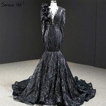 Dubai siyah o boyun uzun kollu abiye 2020 deniz kızı payetli boncuk lüks resmi elbise Serene tepe HM67116