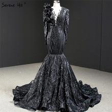 דובאי שחור O צוואר ארוך שרוול ערב שמלות 2020 בת ים נצנצים ואגלי יוקרה לבוש הרשמי Serene היל HM67116
