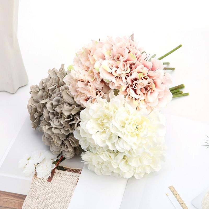 5 stücke Rosa Seide Rose Künstliche Blumen Pfingstrose Braut Bouquet für Hochzeit Hause DIY Dekoration Günstige Gefälschte Blumen Hortensien Handwerk