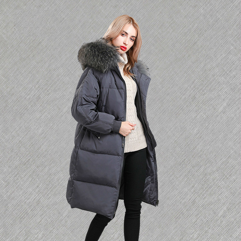 Jacket Winter Women Korean Duck Down Jacket Woman Hooded Big Racoon Fur Collar Long Puffer Coat Parkas Mujer 2020 KJ608
