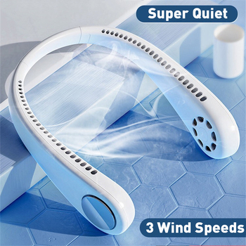 Mini Portable Fan Neck Air Cooler USB Rechargeable Sport Outdoor Hanging Dual Wind Head Neck Cooling Fan Hands-Free Strong Wind