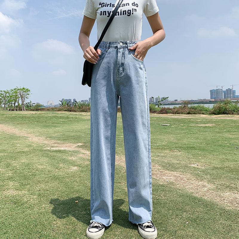 Шорты Харлан джинсы Для женщин новый корейско Стиль свободные капри папа брюки Высокая талия большой Размеры для похудения укороченные джинсы светильник синий