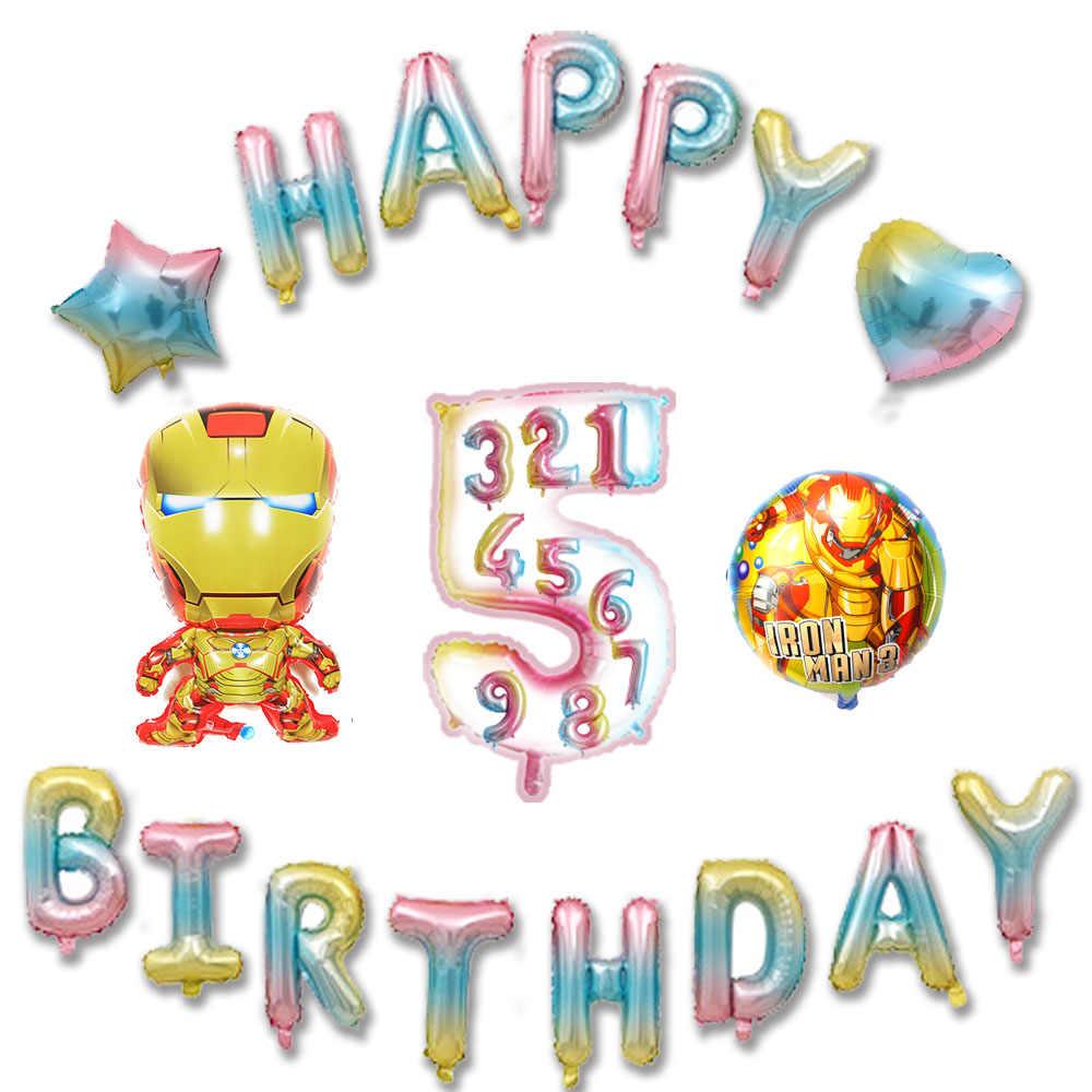 18 teile/los glücklich geburtstag ballons Avengers thema gemischt 30inch anzahl und buchstaben folie ballon Ironman ballon