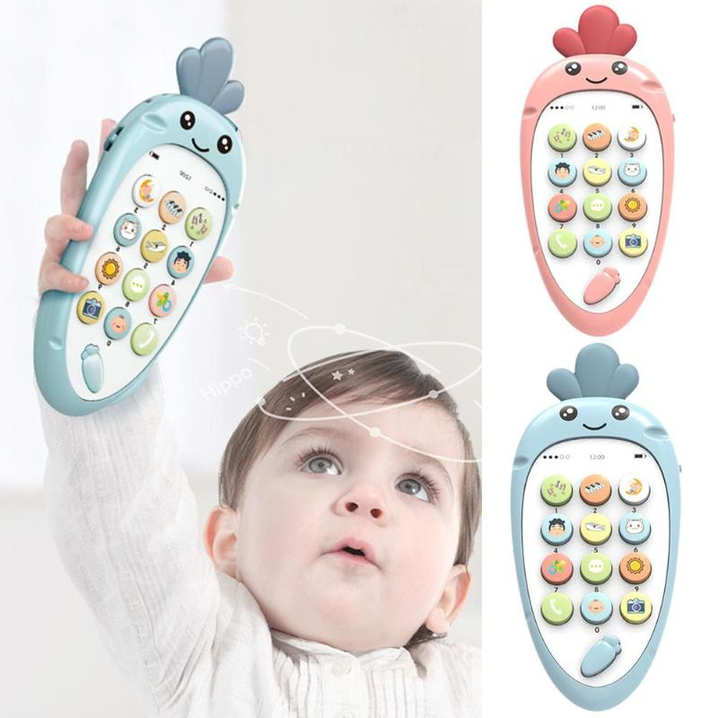 Electronic English Learn Cellphone Toys Bite On Silica Gel Soothe Help Sleep Baby Educational Gifts Cartoon Telephone