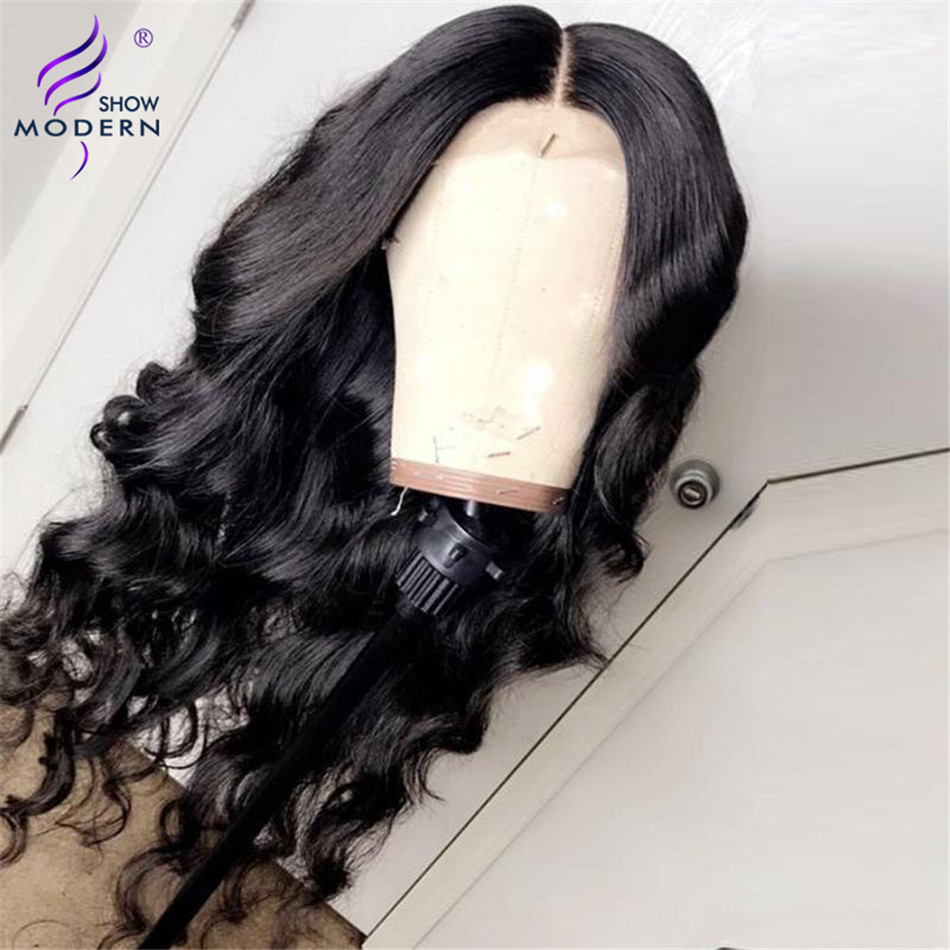 Современное шоу волнистые человеческие волосы 4*4 закрытие шнурка парик высокая радио Remy малазийские волосы парик шнурка предварительно выщипанные с детскими волосами