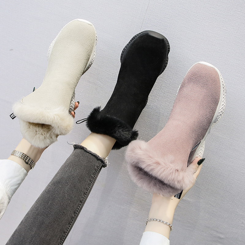 Winter Women Boots Suede Platform Sneakers Warm Plush Ankle Snow Boots Fashion Zipper Sport Running Shoes Solid Winter Shoes 35