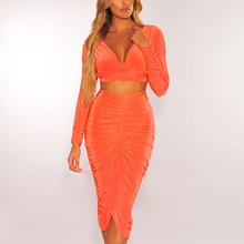 Goocheer Orange Sexy Bodycon V Neck Crop Tops Pleated Skirts 2 Pc Women Sets 2019 Autumn High Waist Two Pieces Female