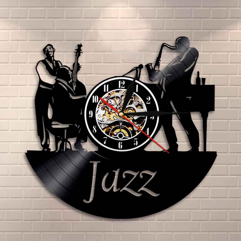 Musicians Jazz Band Wall Clock Men Play The Cellos Sax Jazz Band Instruments Vinyl Record Wall Clock Bedroom Living Room Decor