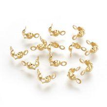 200 pièces 304 acier inoxydable perle embouts embouts à clapet noeud couverture pour la fabrication de bijoux bricolage trouver 8x4mm diamètre intérieur 3mm