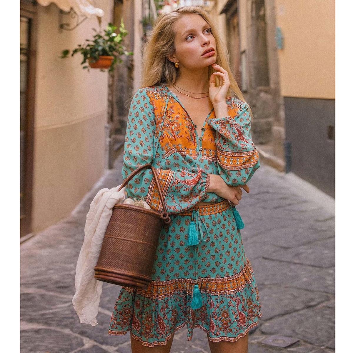 Boho Floral Print Two Pieces Set Summer Women Long Sleeve V Neck Vintage Blouse Tassel  Elastic Skirt Set Beach Clothes 2019
