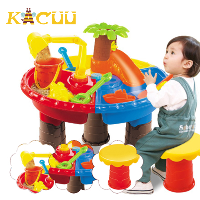 Kids Summer Outdoor Beach Sandpit Toy Sand Bucket Water Wheel Table Toys Play Children Learning Education Toy Birthday Gift