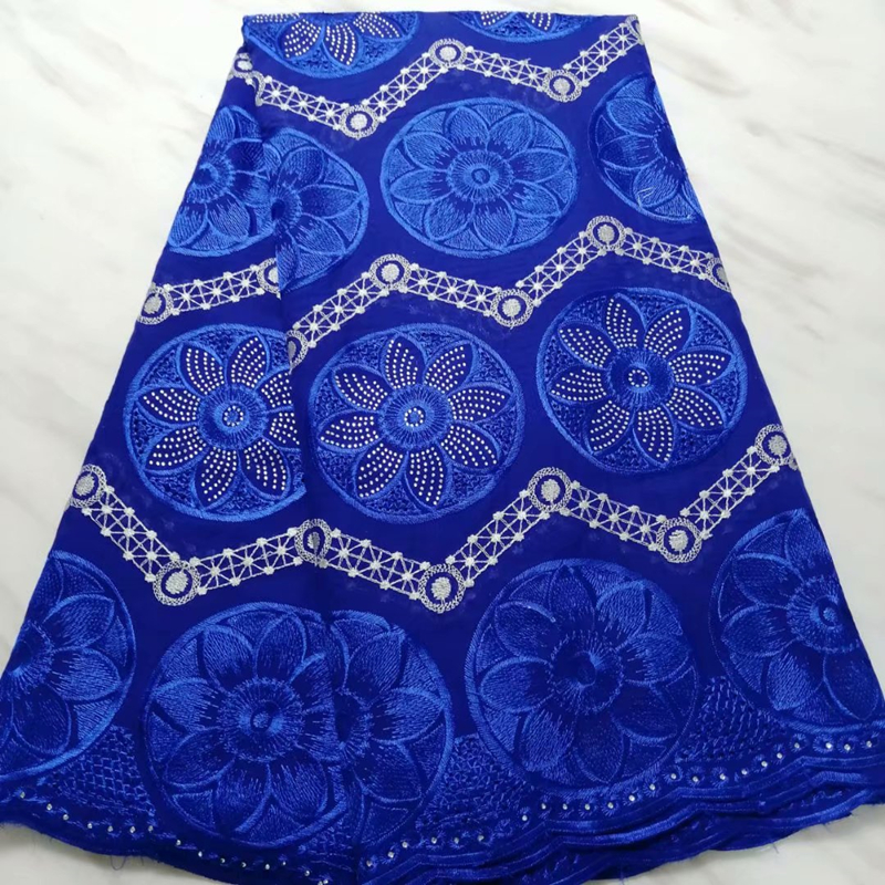 Latest Royal Blue Heavy African Wax Lace Fabric With Beads 2020 High Quality Embroidered Nigerian Guipure Lace Fabric For Bridal