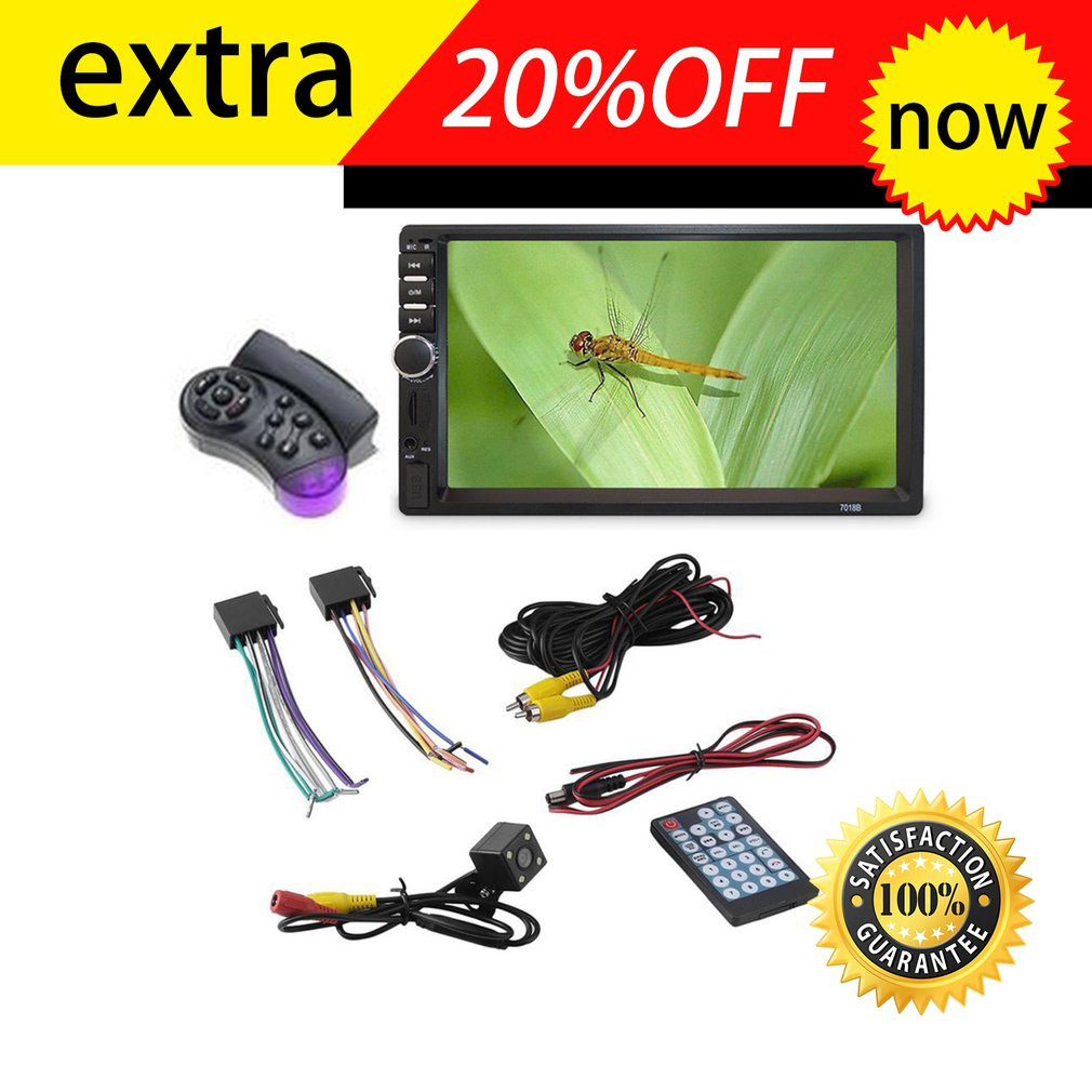 7 Inch Double <font><b>7018B</b></font> 2 DIN Car FM Stereo Radio MP5 Player TouchScreen Multimedia player 4 Light Camera Direction Control image