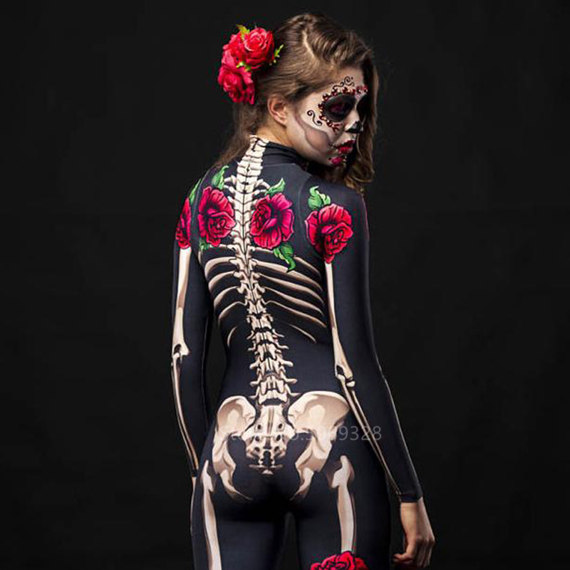 H349f790a022949949213bc25a404887dt - Skeleton Rose Sexy Women Halloween Devil Ghost Jumpsuit Party Carnival Performance Scary Costume Kids Baby Girl Day Of The Dead