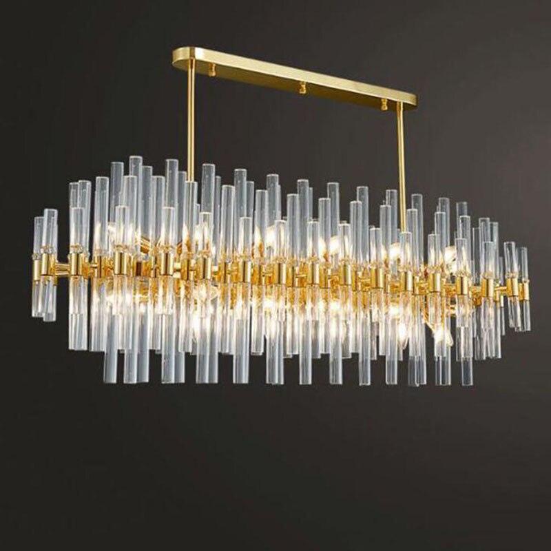 Candelabro de cristal dorado rectangular moderno iluminación de comedor bombillas LED de lujo lámpara de hogar para sala de estar accesorio de iluminación interior