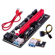 ใหม่ล่าสุด VER009 USB 3.0 PCI E Riser VER 009S Express 1X 4x 8x 16x Extender Riser การ์ด SATA 15pin 6 Pin Power Cable