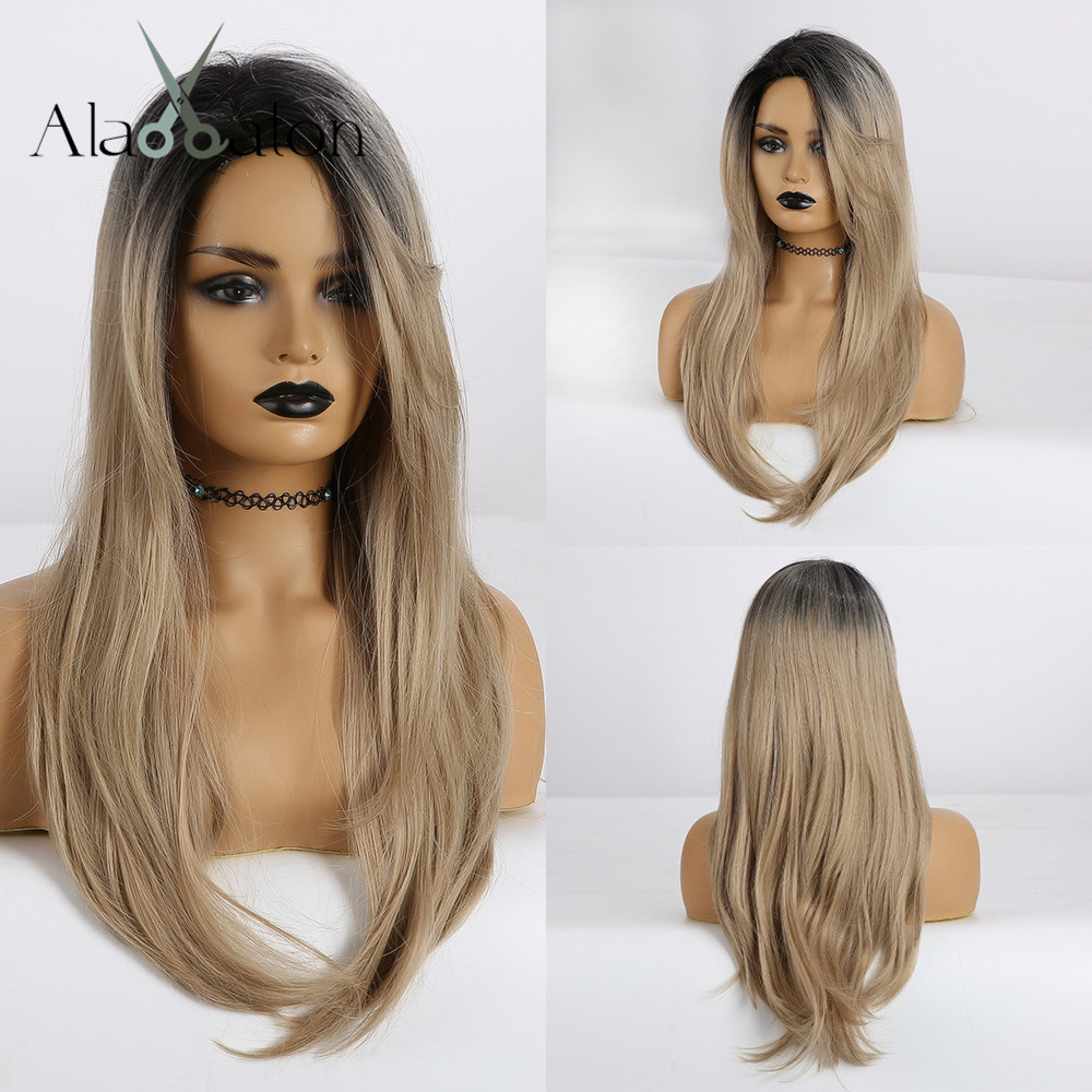 ALAN EATON Side Part Ombre Black Light Brown Long Straight Wigs For Women Synthetic Wigs Cosplay Party Heat Resistant False Hair