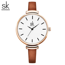 Shengke pulseira de couro feminina relógio de pulso de quartzo banda fina casual relogio feminino senhoras vintage relógios