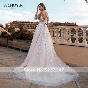 Image 2 - BECHOYER Fairy Pink A Line Wedding Dress 2020 Appliques Lace Court Train Princess Bridal Gown Illusion Vestido de Noiva FY76
