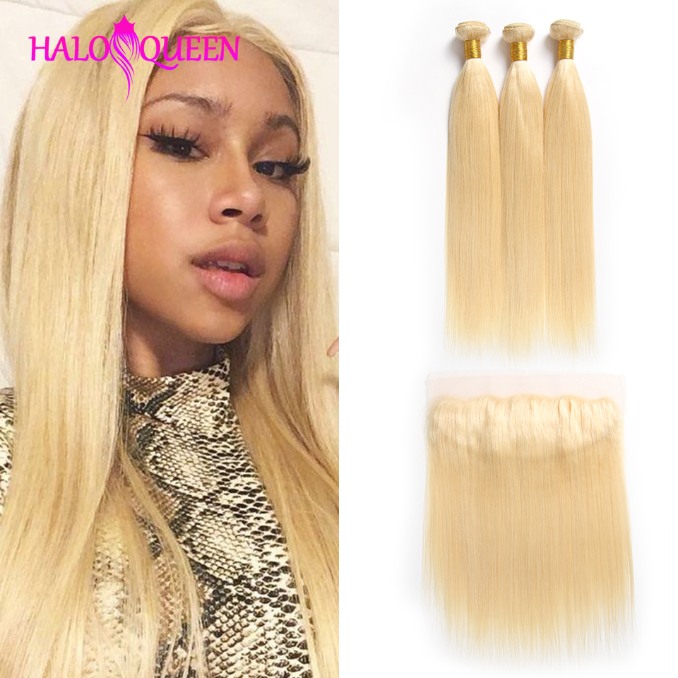 HALOQUEEN 613 Bundles With Frontal Ear to ear Peruvian Straight With Frontal Blonde Human Hair Lace Frontal Closure With Bundles image