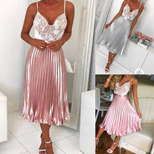 Spring 2019 women party skirts Long Metallic Silver Maxi Pleated Skirt Midi Skirt High Waist Elascity Casual Party Skirt Vintage(China)