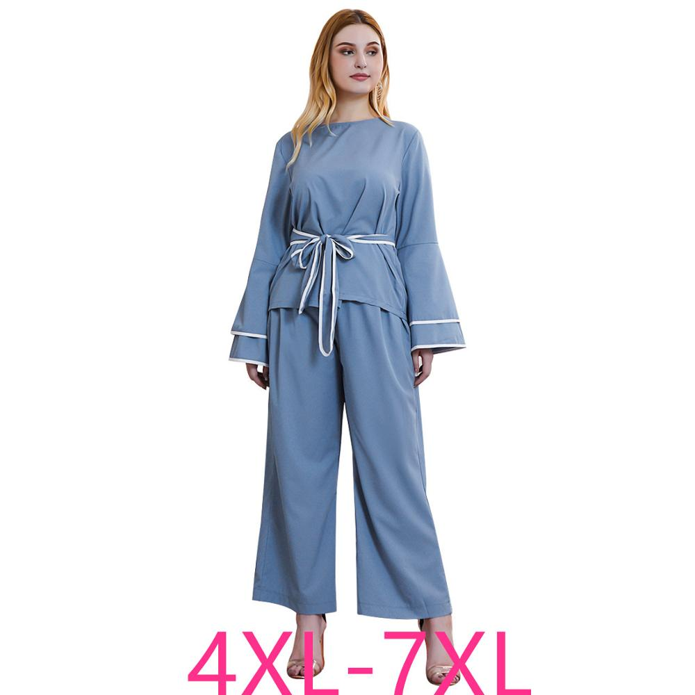 2019 Autumn Winter Plus Size Leisure Home Wear Suits For Women Large Loose Long Sleeve Tops And Pants Sets Blue 4XL 5XL 6XL 7XL