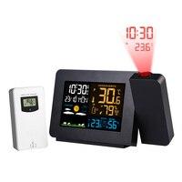 Fanju Digitale Wekker Weerstation Led Temperatuur Vochtigheid Weersverwachting Snooze Tafel Klok Met Tijd Projectie