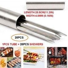 Kabob-Skewer Grilling Reusable-Sticks Stainless-Steel Metal Flat Storage-Tube 30CM