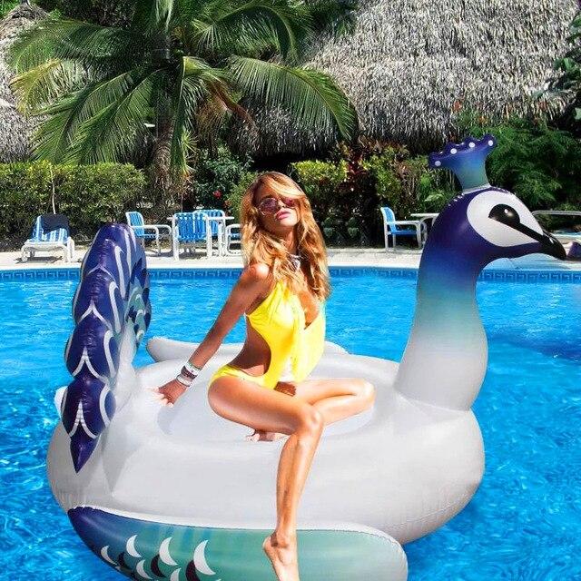 Rooxin 150cm Pfau Pool Schwimm Bett Aufblasbare Schwimmen Matratze für Erwachsene Kinder Float Reihe Schwimmen Kreis Pool Party Spielzeug