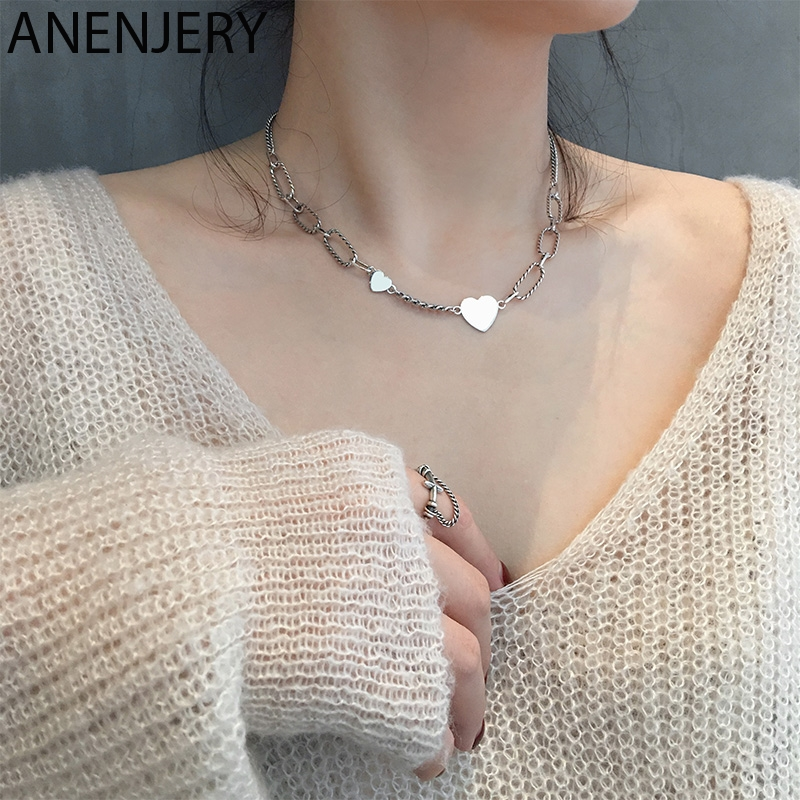 ANENJERY Temperament Retro Love Heart Pendant Thick Chains Necklace For Women Thai Silver Color Party Jewelry S-N567