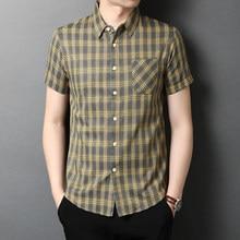 2021 Short Sleeve Men Social Shirt Summer Streetwear Casual Plaid Pocket Shirts Dress Mens Slim Regular Fit Clothes Fashions