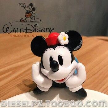 1PCS 12cm Exquisite handwerkskunst, Disney, Minnie, Mickey Maus, spielzeug modell, ornamente, sammlung ornamente