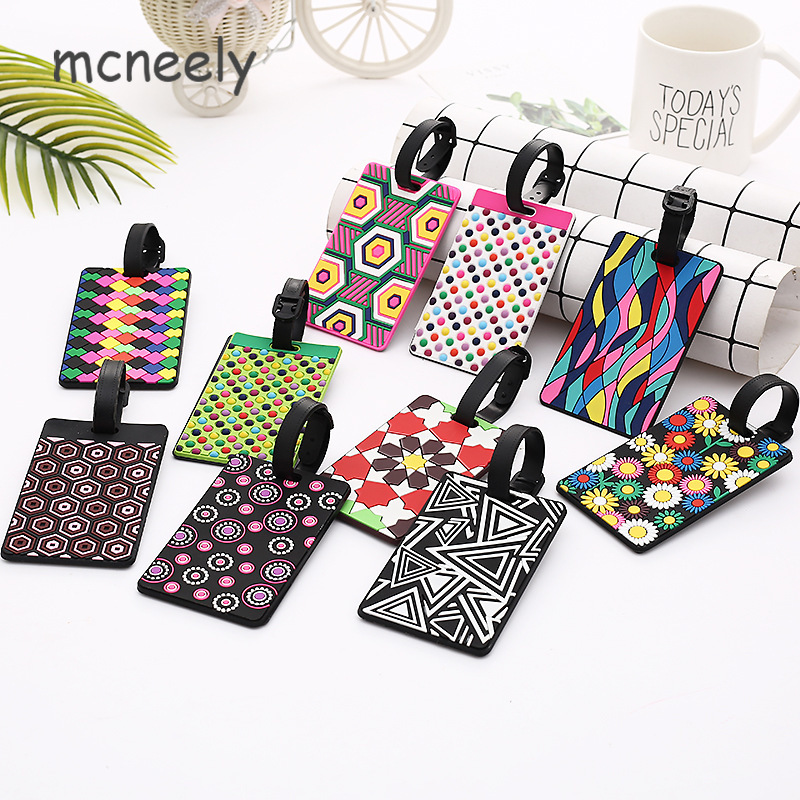 10 Style Geometry Luggage Tags Travel Accessories Women Men Portable Silica Gel Suitcase ID Addres Holder Baggage Boarding