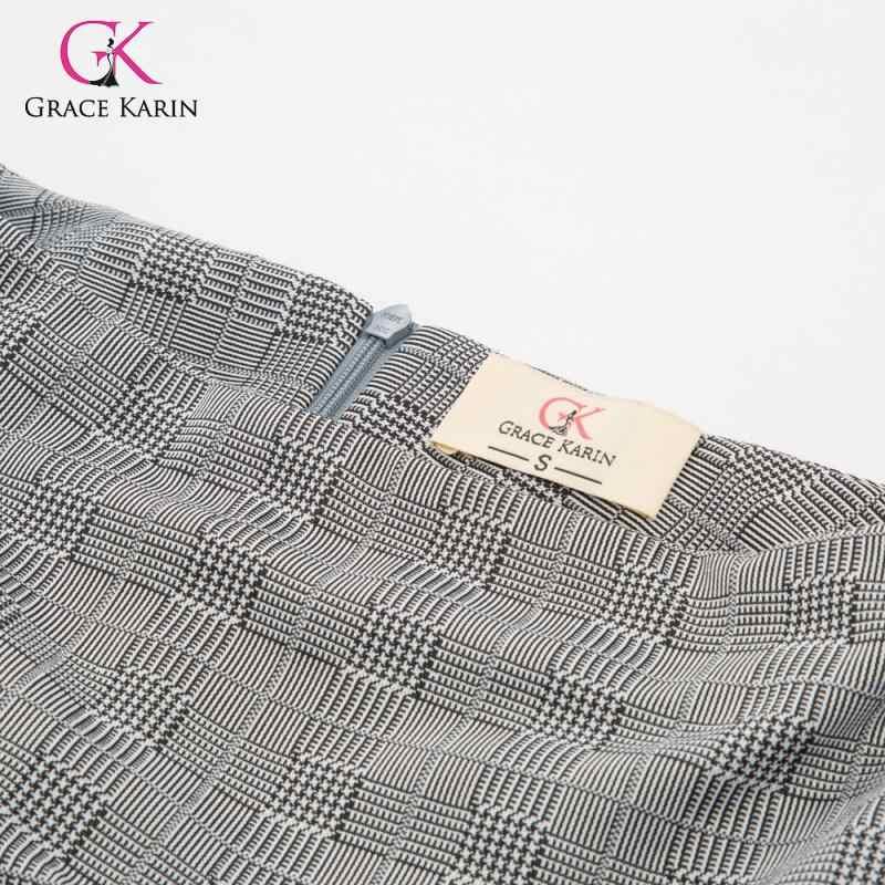 Grace Karin винтажная клетчатая юбка-карандаш с разрезом, деловая Женская Повседневная клетчатая Офисная Рабочая Юбка с высокой талией, официальная облегающая юбка с запахом