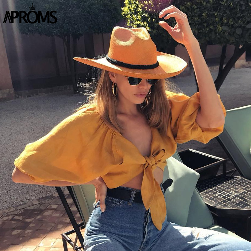 Aproms Elegant Casual V-neck Tie Bow Summer Shirt Women Long Sleeve White Cropped Blouse Holiday Beach Short Yellow Tops 2020