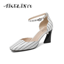 AIKELINYU 2019 Summer Women Sandals Stripe Heels Ankle Strap Pumps Fashion High Woman Peal Buckle Lady Shoes