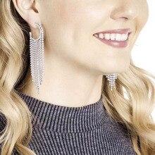 Rhinestone tassel hoop earrings for women luxury earrings fashion 2019 party high shiny earring цена 2017