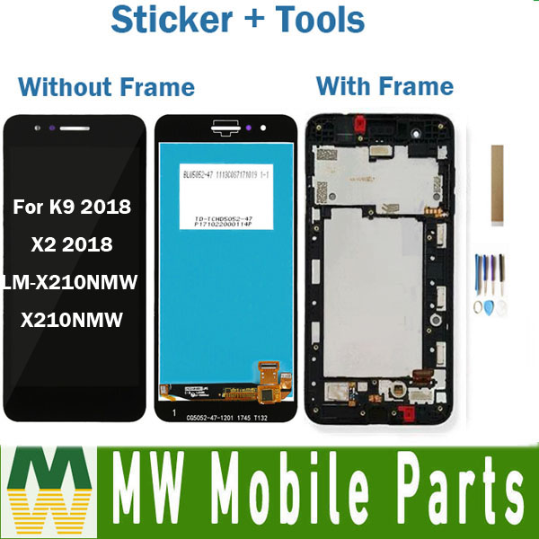 Without/With Frame For LG K9 2018 LM-X210NMW X210NMW / X2 2018 LCD Display With Touch Screen Assembly Black With Tools Tape