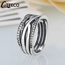 Cuteeco Luxury Pan Rings Silver Endless Beauty Twisting Wave Cubic Zircon Finger Ring For Women Engagement Jewelry Gift