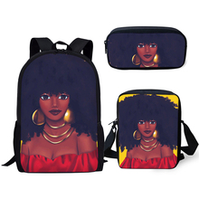 HaoYun 3PCs/Set Kids School Backpacks Black African Girls Pattern School Bags Afro Arts Girls Designer Students Book Bags чайник мастерица эч 0 5 0 5 220з green