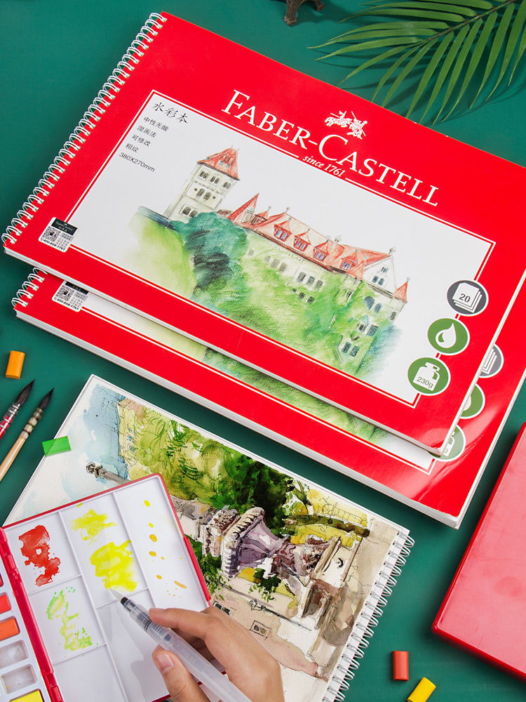 Faber-Castell Watercolor Book 8K/16K Painting Paper 230g/300g Rough-Texture Paper Portable Beginner Hand-painted Books