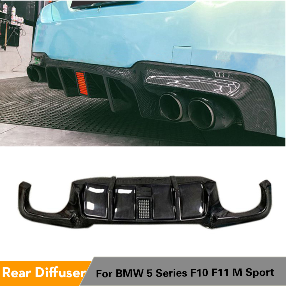 For <font><b>BMW</b></font> 5 Series <font><b>F10</b></font> M-Sport M-Tech 2012 - 2016 Car Rear <font><b>Bumper</b></font> Diffuser Lip Back Lip With LED Light Carbon Fiber image
