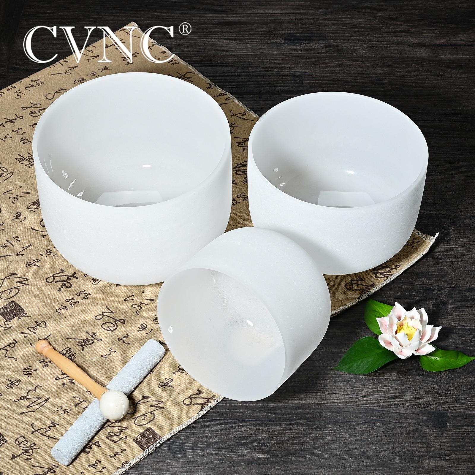 "CVNC 3 pcs 7/"" G 9/""E 11/""F Frosted Chakra Tuned Quartz Crystal Singing Bowl Set"