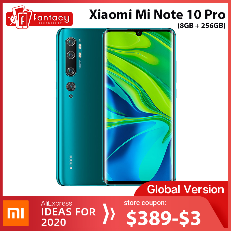 Global Version Xiaomi Mi Note 10 Pro 8GB RAM 256GB ROM 108MP Penta Camera Snapdragon 730G Octacore Cellphone 6.47 Curved 5260mAh