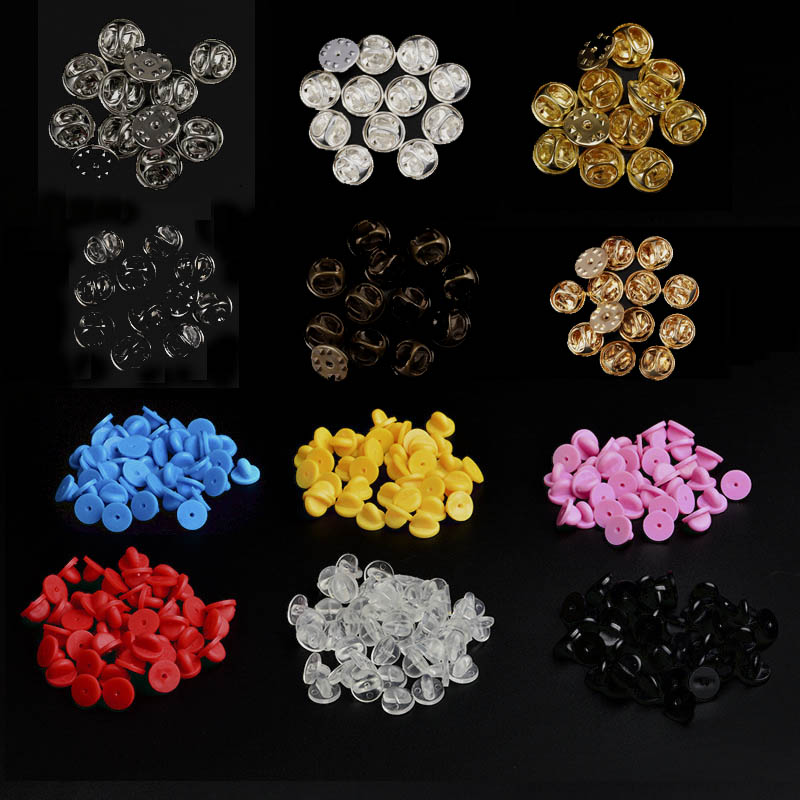 50Pcs Metal/Rubber Pin Backs Replacement Comfort Fit Butterfly Clutch Brooch Finding title=