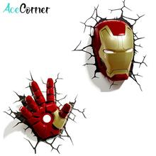 Acecorner Marvel Avengers Captain America Iron Man LED Bedroom Living Room 3D Creative Wall Lamp Decorated with Night Light