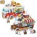 LOZ мини-продажа, автомобильные блоки, игрушки, создатель пиццы, кофе, Juguetes Carro, Строительные кирпичи, сделай сам, модель автомобиля для девоче...