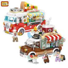 Loz mini vendas blocos de carro brinquedos criador pizza café juguetes carro construção tijolos diy modelo carro meninas meninos natal presentes aniversário